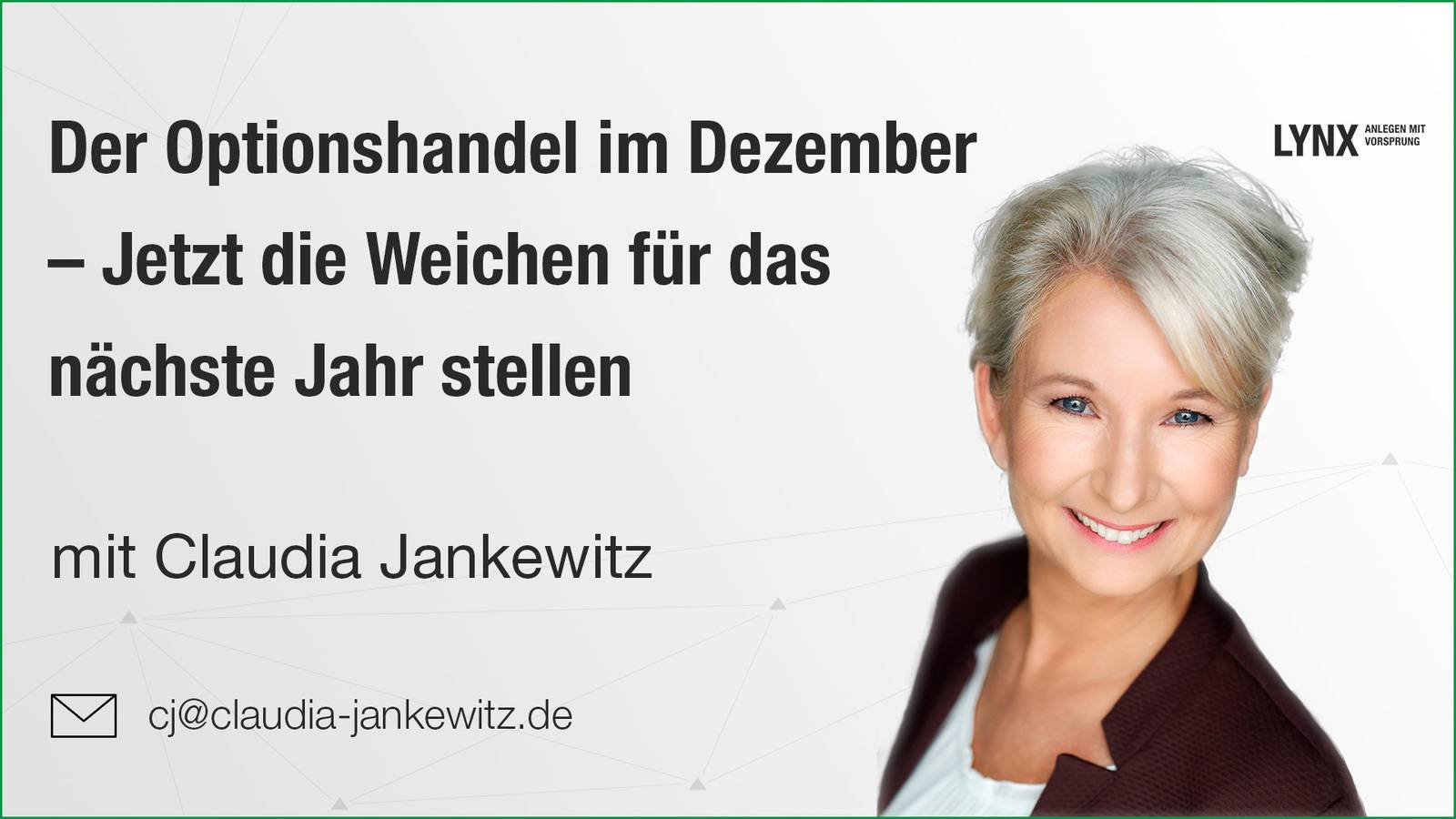 Der Optionshandel im Dezember - Webinar mit Claudia Jankewitz