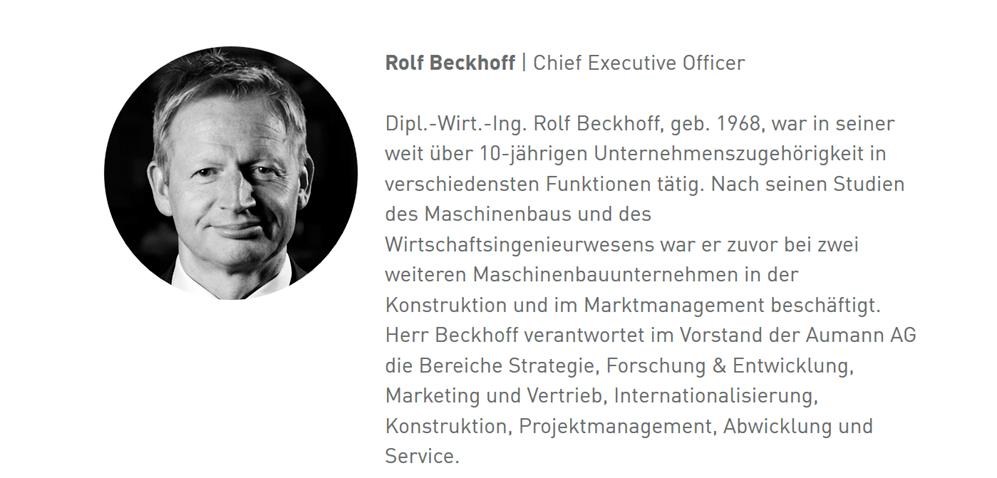 Aumann AG - eine ausführliche Unternehmensanalyse: Vita Vorstandsmitglied Rolf Beckhoff | LYNX Online Broker