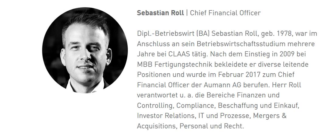 Aumann AG - eine ausführliche Unternehmensanalyse: Vita Vorstandsmitglied Sebastian Roll | LYNX Online Broker