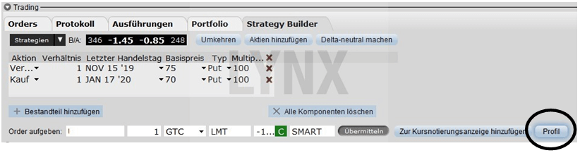 Optionsstrategie Diagonal Spread: Die Hybride unter den Optionsstrategien - Strategy Builder der Trader Workstation | Online Broker LYNX